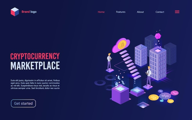 Trade crypto currency on virtual bitcoin marketplace concept isometric landing page.