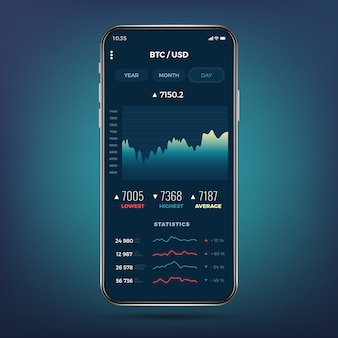 Trade exchange app on phone screen. mobile banking cryptocurrency ui.