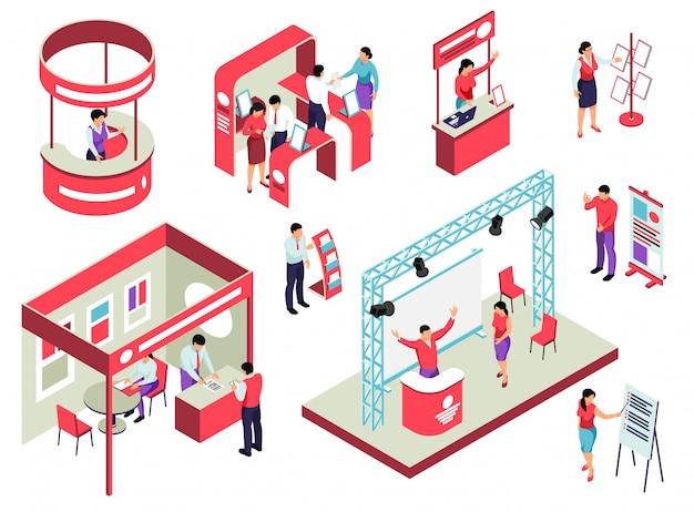 Изометрическая экспозиция торговой выставки с экспозиционным оборудованием персонала и посетителей и рекламными раздаточными материалами.