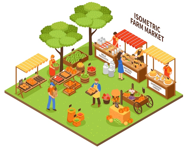 Trade fair market illustration