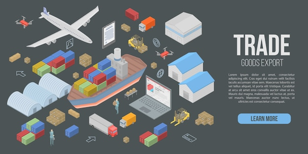 Trade goods export concept banner, isometric style