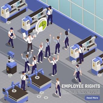 労働組合のメンバーは、工業製造の従業員の等角図を奨励しています
