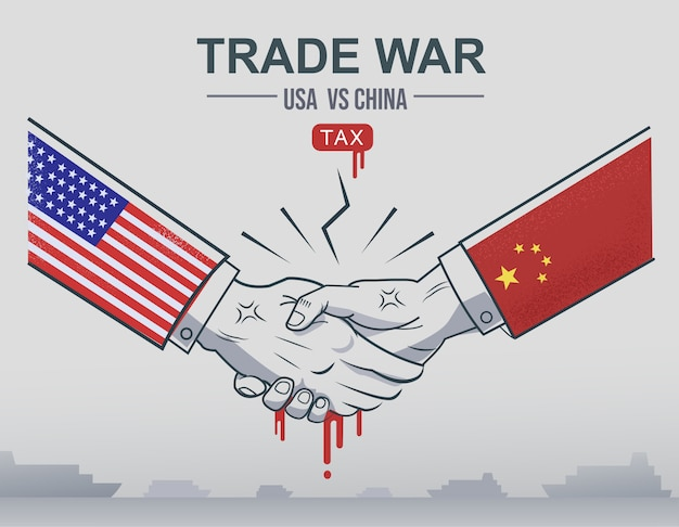 Trade war china vs usa trade and american tariffs as economic taxation dispute.