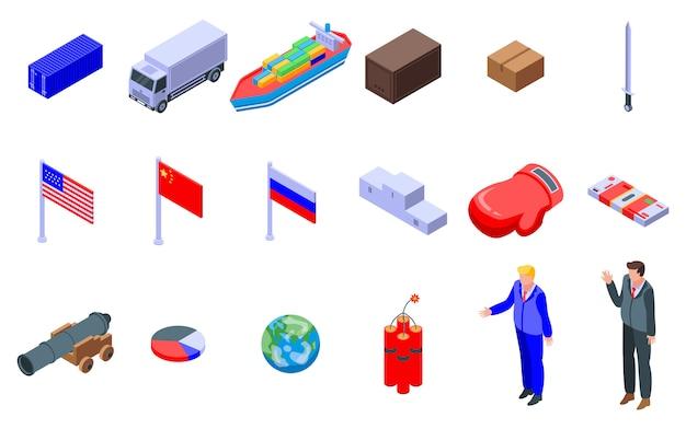Trade war icons set