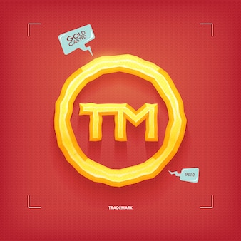 Trademark symbol. golden jewel typeface element. gold casted.  illustration.