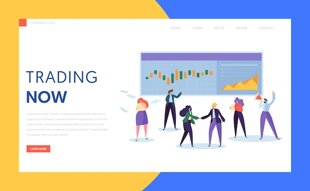 Trader buying and selling stock, bond or commodity or derivative and mutual fund landing page. professional working in a financial corporation website or web page. flat cartoon vector illustration
