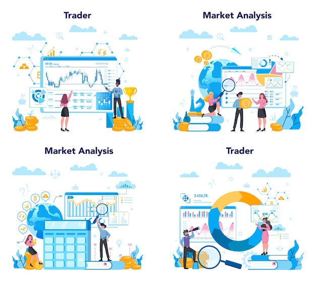 Trader, financial investment concept set. buy, sell or loss profits, trader strategy. idea of money increase and finance growth.