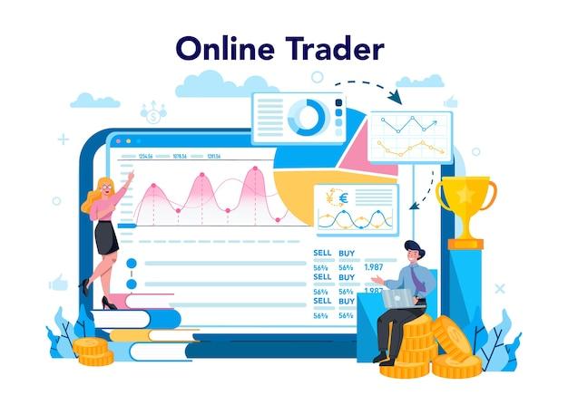 Trader, financial investment online service or platform