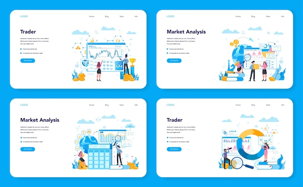 Trader, financial investment web banner or landing page set. buy, sell or loss profits, trader strategy. idea of money increase and finance growth. vector illustration in flat style