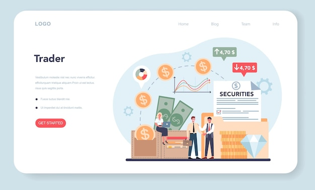Trader, financial investment web banner or landing page