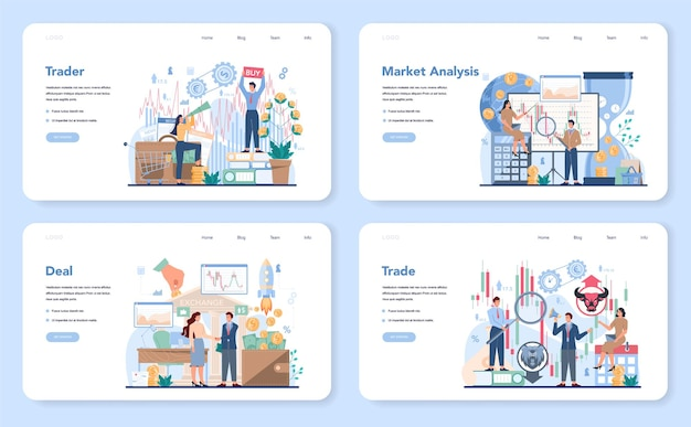 상인, 금융 투자 웹 배너 또는 방문 페이지 세트