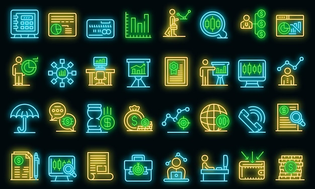 Trader icons set. outline set of trader vector icons neon color on black