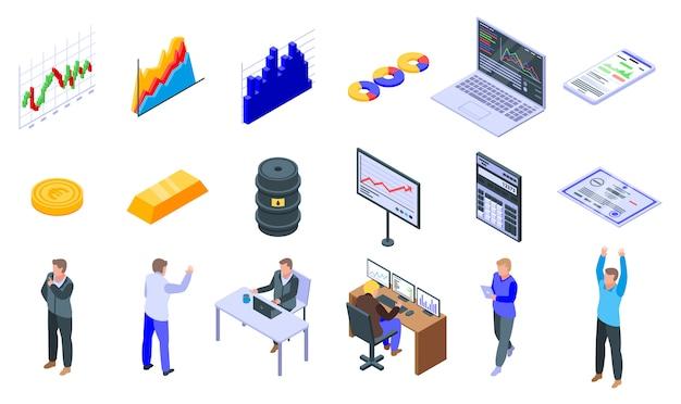 Trader icons set
