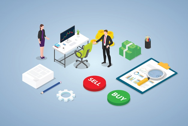 Trader stock market trading concept with business man team people and some chart and financial analysis data with modern isometric style