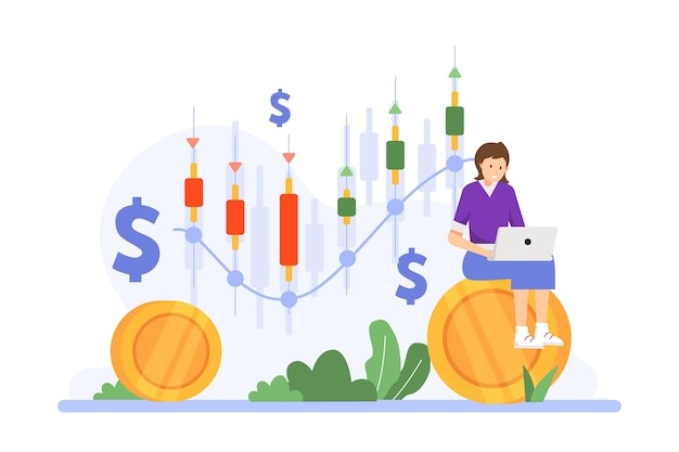 Trader working illustration