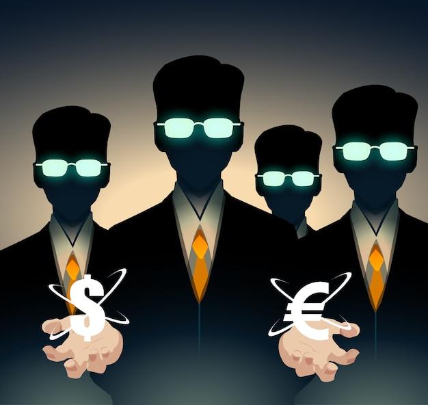 Трейдеры и аналитики в костюмах, умные люди. в руках знак евро и доллара.