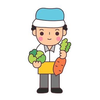 상인은 야채를 판매