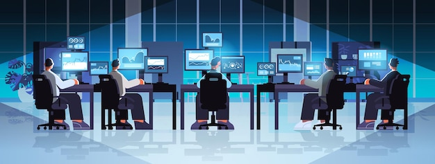 Traders team stock market brokers analyzing charts graphs and rates on computer monitors at workplaces modern office interior full length horizontal vector illustration