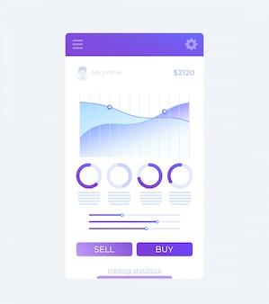トレーディングアプリ、モバイルuiデザイン