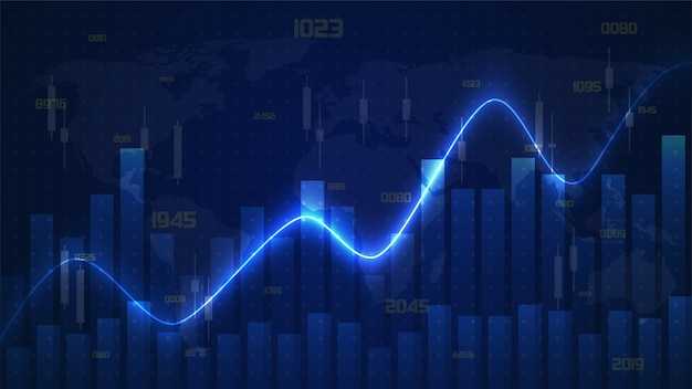 Trading background with illustrated bar graphs and glowing curved lines on dark blue