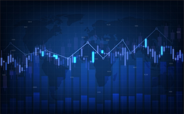 A trading background with illustrations of candle charts and blue bar charts on a dark blue background.