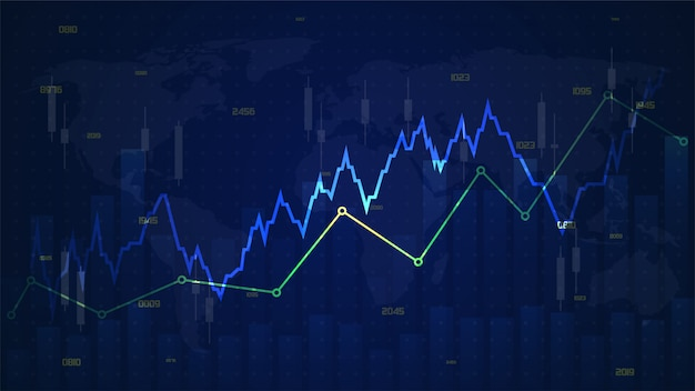 Trading backgrounds with illustrations of heart rate graphs rising above transparent blue