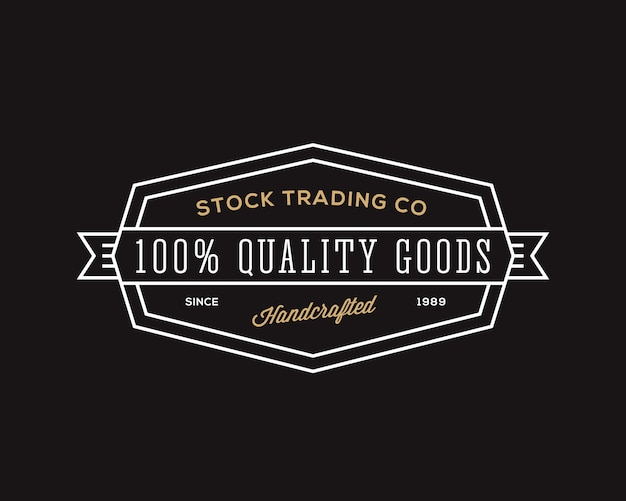 Trading company retro typography abstract  sign, symbol or logo template. black background.