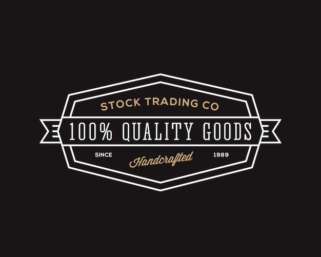 商社のレトロなタイポグラフィ抽象的な記号、記号またはロゴのテンプレート。黒の背景。
