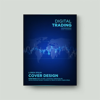 Trading cover with illustrations of light blue candlestick charts on a dark blue background.