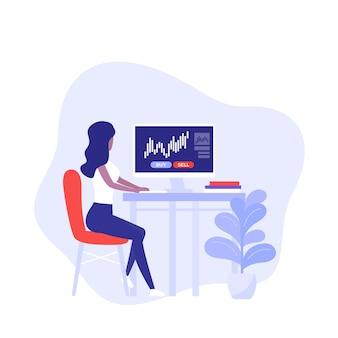 Торговля, форекс и фондовый рынок, женщина за компьютером, вектор