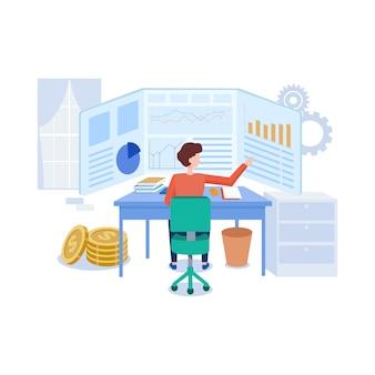 Trading platform illustration in flat style