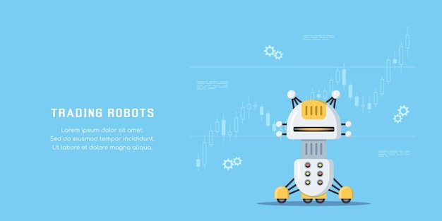 무역 로봇 개념 배너입니다. 주식 시장, 외환 및 암호 화폐 거래