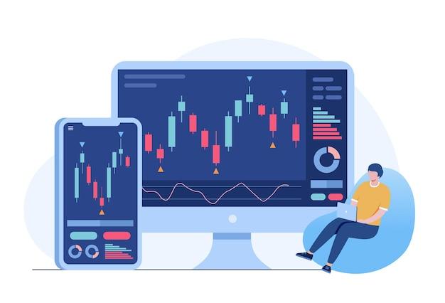 Торговые акции и концепция подсвечника форекс плоская векторная иллюстрация для баннера premium векторы