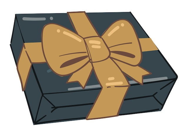 贈り物の伝統、金色の弓で飾られたボックスの孤立したアイコン。祝日、誕生日、新年、クリスマス、特別な日などのお祝いやお祝い。豪華なプレゼント、フラットのベクトル