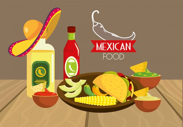 Traditiona tequila with mexican tacos food