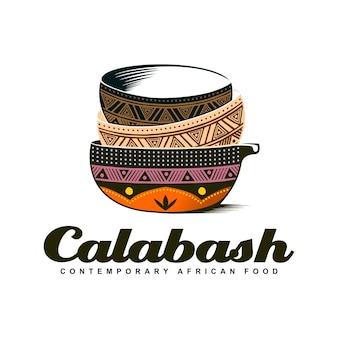 伝統的なアフリカのカラバッシュボウルカラフルなロゴデザインイラスト