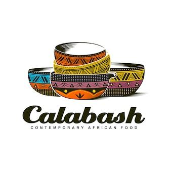 伝統的なアフリカのカラバッシュボウルカラフルなロゴイラスト