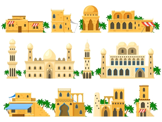 Traditional ancient arabic architecture mud brick buildings. towers, houses, rotunda and castle buildings vector illustration set. arabic buildings architecture ancient, traditional building stone
