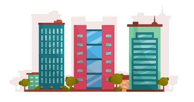 Традиционное и современное здание мультфильм плоский дизайн концепции иллюстрации, концепция здания бизнеса недвижимости