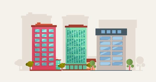 전통과 현대적인 건물 만화 평면 디자인 컨셉 일러스트, 부동산 비즈니스 건물 개념