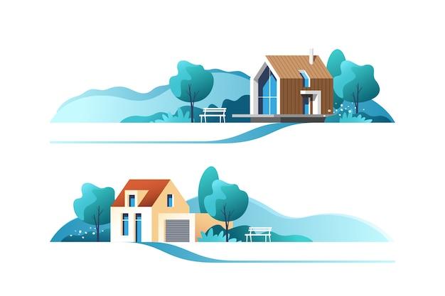 Традиционный и современный дом, бизнес-концепция недвижимости.