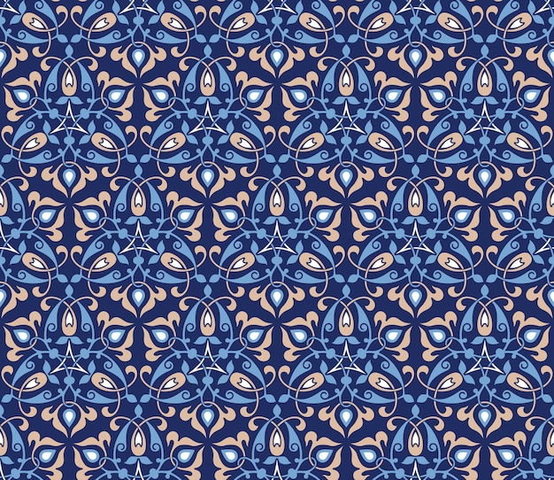 Traditional arabic decor on blue background