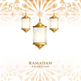 Traditional arabic hanging lantern ramadan kareem background
