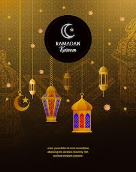 Traditional arabic lanterns, islamic greeting, golden ornate crescent, mosque dome, muslim calligraphy with signatures.