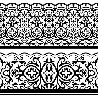Traditional arabic seamless black ornanetal borders