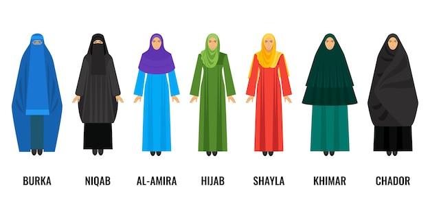 전통적인 아랍 여성 의류. 파란색 부르카, 검은색 니캅, 보라색 알-아미라, 녹색 huab, 노란색 shayla, 에메랄드 키마르 및 어두운 차도르 벡터 일러스트레이션