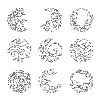 Traditional asian cloud round shape set.