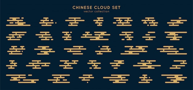 Traditional asian cloud set