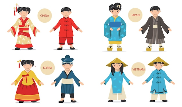 전통적인 아시아 커플 세트. 중국, 일본, 한국, 베트남 남녀가 민족 의상, 기모노, 모자를 쓴 만화.