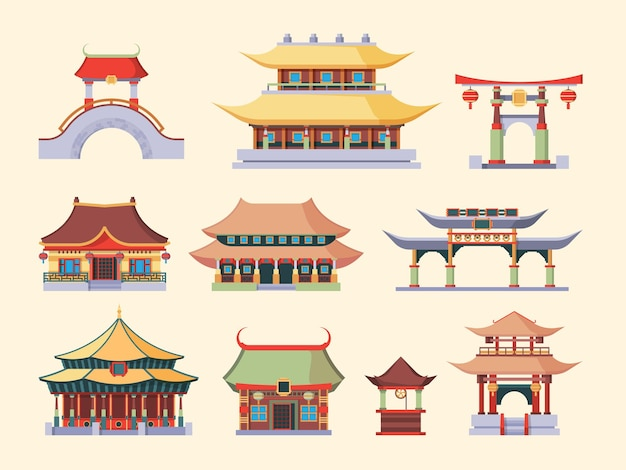 Traditional asian palaces and temples set illustration